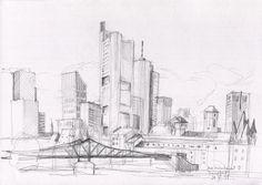 Mainhattan Frankfurt city skyline - Urban sketch, pencil drawing - PRINT of plein air pencil drawing - Urban sketch by Catalina. by CATILUSTRE on Etsy
