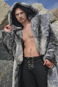 Men's Vandal Fur coat with zip off hood in Silver Fox @Alexander Nepein #furfashion #furonline