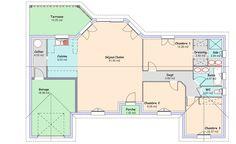 La maison Espace : 104,06 m² - Constructeur maisons MCA - 1er constructeur national de maisons - Groupe MFC Maison Mca, Architecture, Villas, House Plans, Sweet Home, Floor Plans, How To Plan, Deco, House Blueprints