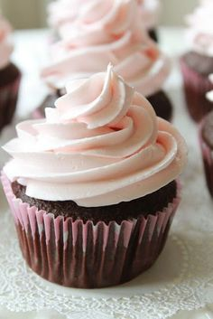 """S DeCosmo ♥♥ Strawberry Dream Frosting. """"This frosting is so delicious and super quick to whip up. I'd recommend you memorize the recipe and keep the ingredients on hand for those emergency late night sugar cravings. Cupcake Recipes, Cupcake Cakes, Icing Recipes, Cupcake Frosting, Pink Frosting, Cupcake Ideas, Fluffy Frosting, Cake Icing, Dessert Recipes"""