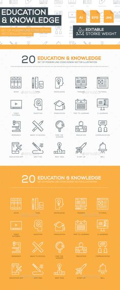 Set of Modern Line Education Icons Design Buy Now… Icon Design, Design Design, School Icon, Education Icon, Web Project, Line Icon, Outline, Back To School, Knowledge