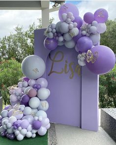 Birthday Balloon Decorations, Birthday Balloons, Birthday Party Decorations, Baby Shower Decorations, Butterfly Birthday Party, Butterfly Baby Shower, Deco Ballon, Lavender Baby Showers, Baby Girl Shower Themes