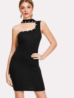 7bb11cbf813 Asymmetrical Neck Form Fitting Dress Dress P