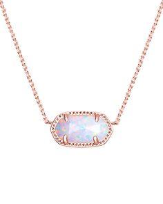 NEW: Elisa Rose Gold Pendant Necklace in White Kyocera Opal - Kendra Scott Jewelry.