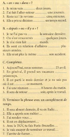 L'expression du temps - exercices Ap French, Core French, French Words, French Quotes, Learn French, French Language Lessons, French Language Learning, French Lessons, French Flashcards