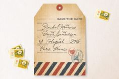 Vintage Pack Your Bags Save the Date Cards by Dawn Jasper at minted.com