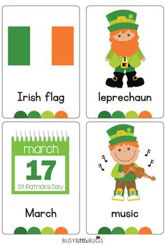 """Our """"St Patrick's Day Flash Cards are a great early literacy learning tool for your children or classroom"""