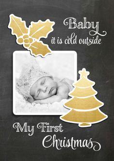 Heel bijzonder de eerste kerst met je kindje. Maak hier een mooie kerstkaart van met deze kaart. Vervang de foto en maak een leuke tekst binnenin.