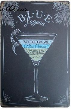 FABULOUS VINTAGE ART DECO STYLE METAL WALL SIGN PLAQUE *MARTINI COCKTAIL RECIPE*