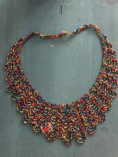 Beautifully made, very detailed handmade mexican necklace. One of a kind! Not a chicken but not a long necklace 2 variations: teal and multi colored In inches L 7 w Fringe Necklace, Seed Bead Necklace, Seed Beads, Crochet Necklace, Beaded Necklace, Bijoux Design, Elsa, Craft Supplies, Glass Beads