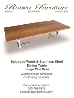 Rotsen Furniture Reclaimed Wood and Stainless Steel Dining Table
