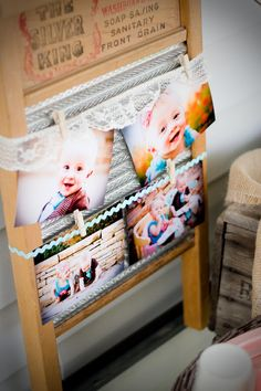 Twin Cookies and Milk First Birthday Party. Pictures displayed on vintage washboard.