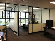 Office Screens is Brisbane's Leading Manufacturer & Installer of Office Partitions. 07 3868 1477 for a quote for custom designed office partitions. Office Remodel, Glass Office Partitions, Office Partition, Office Room Dividers, Office Walls, Office Interior Design, Office Cubicle, Rugs In Living Room, Office Design