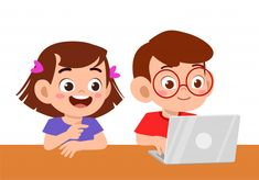 Cute kid boy and girl using laptop Premi.