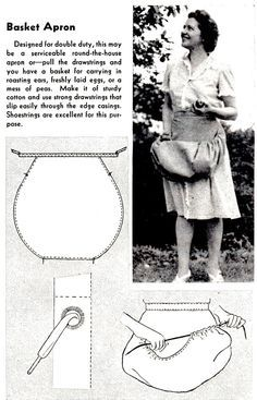 How to Sew a Basket Apron - Vintage Crafts and More (Great idea! - How to Sew a Basket Apron – Vintage Crafts and More (Great idea! Sewing Hacks, Sewing Tutorials, Sewing Crafts, Sewing Tips, Dress Tutorials, Fabric Crafts, Sewing Ideas, Sewing Aprons, Sewing Clothes