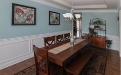 Dining room with light blue accents