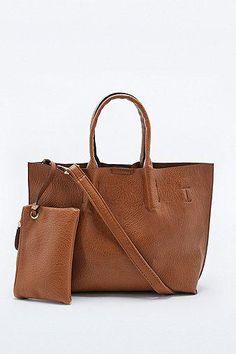 Mini Vegan Leather Tote Bag in Tan #handbag #women #covetme #urbanoutfitters