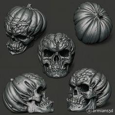 ArtStation - Evil Pumpkin Skulls, Arminas Didziokas Evil Pumpkin, Creepy Pumpkin, Zombie Halloween Decorations, Halloween Ideas, Evil Jester, Archetypes, Zbrush, Dark Art, Sculpting