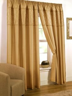 Gem Pencil Pleat   Gold Ready Made Curtains