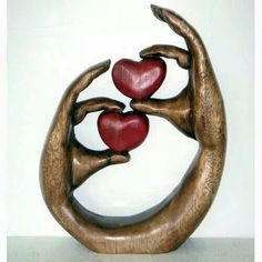 Once Tree Love Hearts in Hands, Wood Sculpture Carved Acacia Wood, Home Crafts, Diy And Crafts, I Love Heart, Happy Heart, Wooden Ornaments, Scroll Saw Patterns, Wooden Art, Heart Art, Wood Sculpture