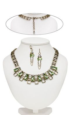 Single-Strand Necklace and Earring Set with SWAROVSKI ELEMENTS and Antiqued Gold-Plated Pewter Spacers