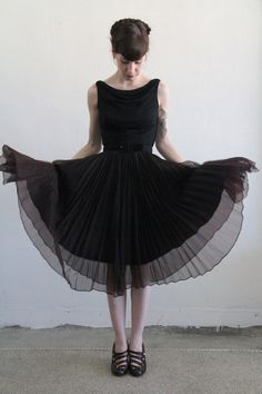 1950s Gown  Brown n Black  Chiffon  Cocktail Dress  by VeraVague, $195.00    Black, but gorgeous...