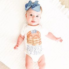 Weekends are for pancakes and this little blueberry Short Stack. Short stack baby onesie - cute baby onesies, baby girl clothes. The Pine Torch