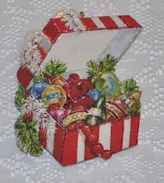 Gift Box Full of Christmas Ornaments Glittered Vintage Greeting Card Ornament