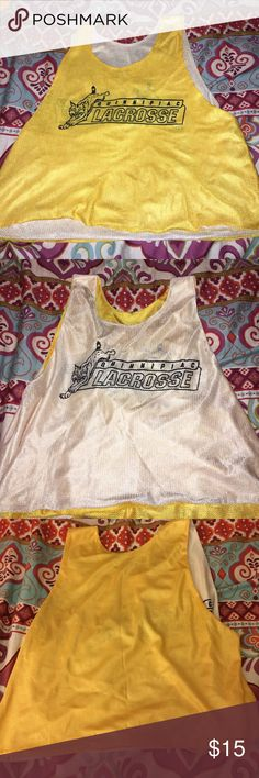 Quinnipiac University Lacrosse Reversible Penny Can be worn yellow or white! Great condition!! Good way to workout and support your Bobcats!! Tops Muscle Tees