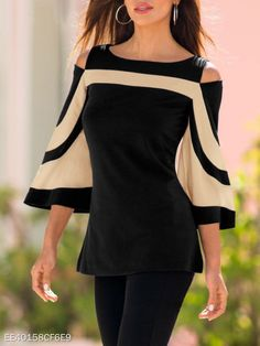 womens tops and blouses Women Cold Shoulder Long Sleeve Sweatshirt Pullover Tops Blouse Shirt Flare Sleeve Black blusas Bluse Outfit, Shirt Bluse, Tunic Shirt, Bell Sleeve Blouse, Bell Sleeves, Blouses For Women, Ideias Fashion, Sweatshirt, Long Sleeve