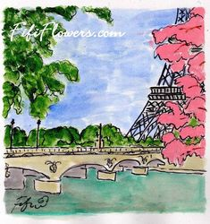 Pink+Trees+along+the+Seine+por+fififlowers+en+Etsy,+$5,00