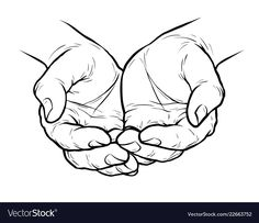 Outstretched hands - Free vector image in AI and EPS format. Hand Reference, Drawing Reference, Praying Hands Drawing, Hand Outline, Folded Arms, Cupped Hands, Pin On, Hand Sketch, Laura Lee