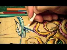 Time Lapse Prismacolor pencil octopus drawing on wood never thought of doing this before!