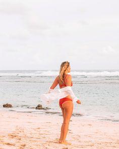 Loving this combo White Bikinis, Red Bikini, Palm Trees, Around The Worlds, Ocean, One Piece, Photo And Video, Lifestyle, Beach