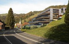 STOMEO Architektur Visualisierung - Zürich Masterplan Architecture, Hillside House, Building Exterior, Condos, Buildings, Country Roads, Luxury, Modern Buildings, Terrace