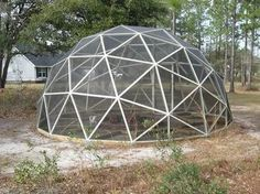 garden enclosure with chicken wire to keep out the deer and pesky herbivores - Pictures of domes built using the geo-dome plans