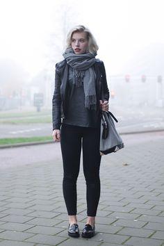 RED REIDING HOOD: www.redreidinghood.com Fashion blogger wearing black skinny jeans ONLY denim gabor loafers outfit acne canada wool scarf