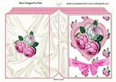 Heart with pearls roses and bow folded book on Craftsuprint - Add To Basket!