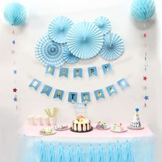 Blue Birthday Party Paper Decoration Kit Banner Tassel Garland Paper Fan Rosettes Honeycomb Balls Star Garland for Boy Birthday. Yesterday's price: US. Simple Birthday Decorations, Kids Party Decorations, Halloween Party Decor, Paper Decorations, Diy Party, Kids Decor, Party Ideas, Decor Ideas, Blue Birthday Parties
