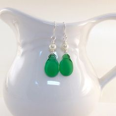 Earrings Green Teardrop and White Glass Pearl by CinLynnBoutique, $18.00