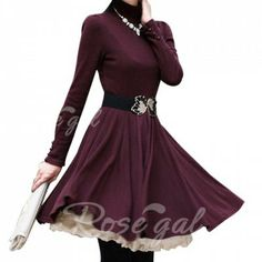 Long Sleeves Turtle Neck Beam Waist Ruffles Slimming Ladylike Women's Dress(Without Belt)