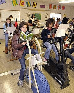 But this North Carolina grade school is going in the opposite direction: Kids ride bikes as they read. Library Furniture Design, School Classroom, School Office, Teacher Portfolio, Stationary School, Experiential Learning, Kids Ride On, School Counseling, Teaching Reading