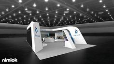 Stand apart from your competition with this elegant and alluring 30' x 50' island trade show exhibit. The perimeter wall of the exhibit forms a horseshoe shape and provides a semi-enclosed space ideal for meeting with clients and prospects on the show floor. The interior walls are adorned with color-rich graphics and communicate brand capabilities to visitors. #display #booth #tradeshowdisplay #tradeshowbooth