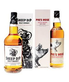 Standout spirits with standout packaging. Sheep Dip has a deep, woody flavor; Pig's Nose is smooth, light, and lemony. $43 - $52 www.lovescotch.com