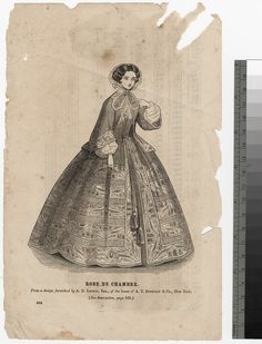 1850s robe de chambre. Publication unknown, description missing (alas!). Mid-'50s judging by hair and sleeve styles.