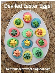 Deviled Easter Egg Recipe - perfect, and colorful, for Easter Season and using up hard boiled eggs.