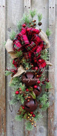 Farmhouse Holiday Swag with Sleigh Bells ~A New England Wreath Company Designer Original~