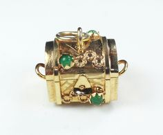 $325 Vintage 14k Gold Treasure Chest Charm 14k Yellow Gold Green Glass Stones Cultured Pearl Charm Vintage Charm That Opens Moveable Charm by BelmarJewelers on Etsy