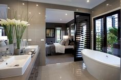 Bathroom tips, bathroom remodel, master bathroom decor and master bathroom organization! Master Bathrooms may be beautiful too! From claw-foot tubs to shiny fixtures, they are the master bathroom that inspire me the absolute most. Open Bathroom, Ensuite Bathrooms, Dream Bathrooms, Beautiful Bathrooms, Bathroom Interior, Home Interior, Interior Design, Remodel Bathroom, Minimal Bathroom