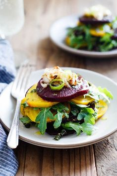 Stacked Beet Salad with Herb Oil. Stacked Beet Salad with Crispy Shallots & Herb-Infused Oil (paleo vegan) Healthy Salad Recipes, Vegetarian Recipes, Cooking Recipes, Beet Recipes, Smoothie Recipes, Clean Eating, Healthy Eating, Crispy Shallots, Roasted Beet Salad